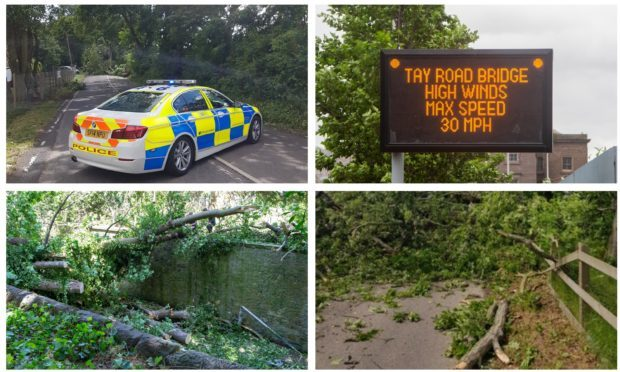 Some of the roads across Tayside and Fife which were affected by Storm Hector