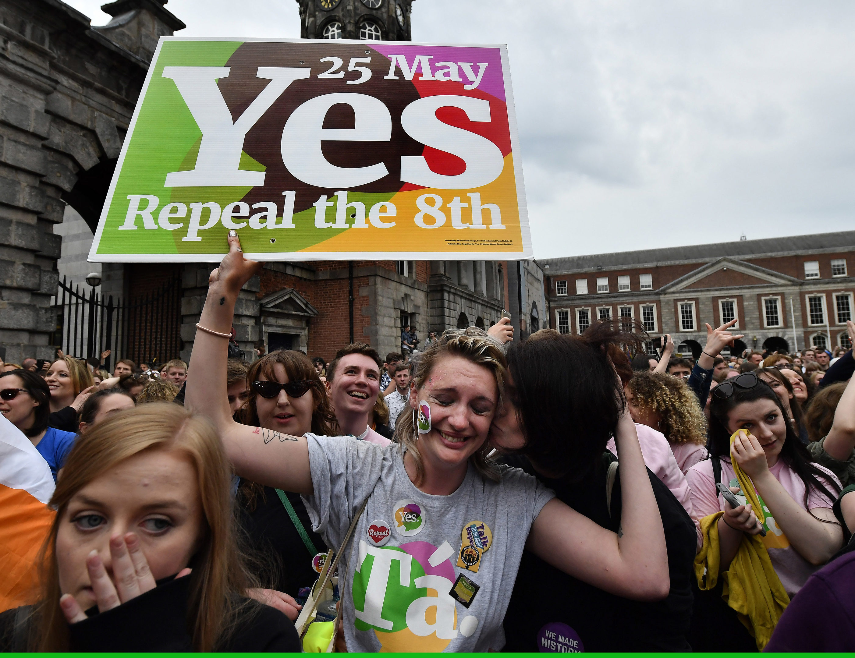 Yes voter breaks down in tears as the result of the Irish referendum on the 8th amendment, concerning the country's abortion laws, is declared.