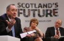 Alex Salmond, left, with Nicola Sturgeon and John Swinney