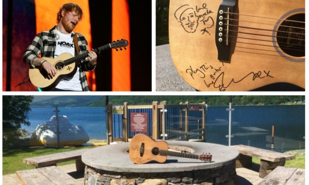 Ed Sheeran and the signed guitar at Tayside Marina.