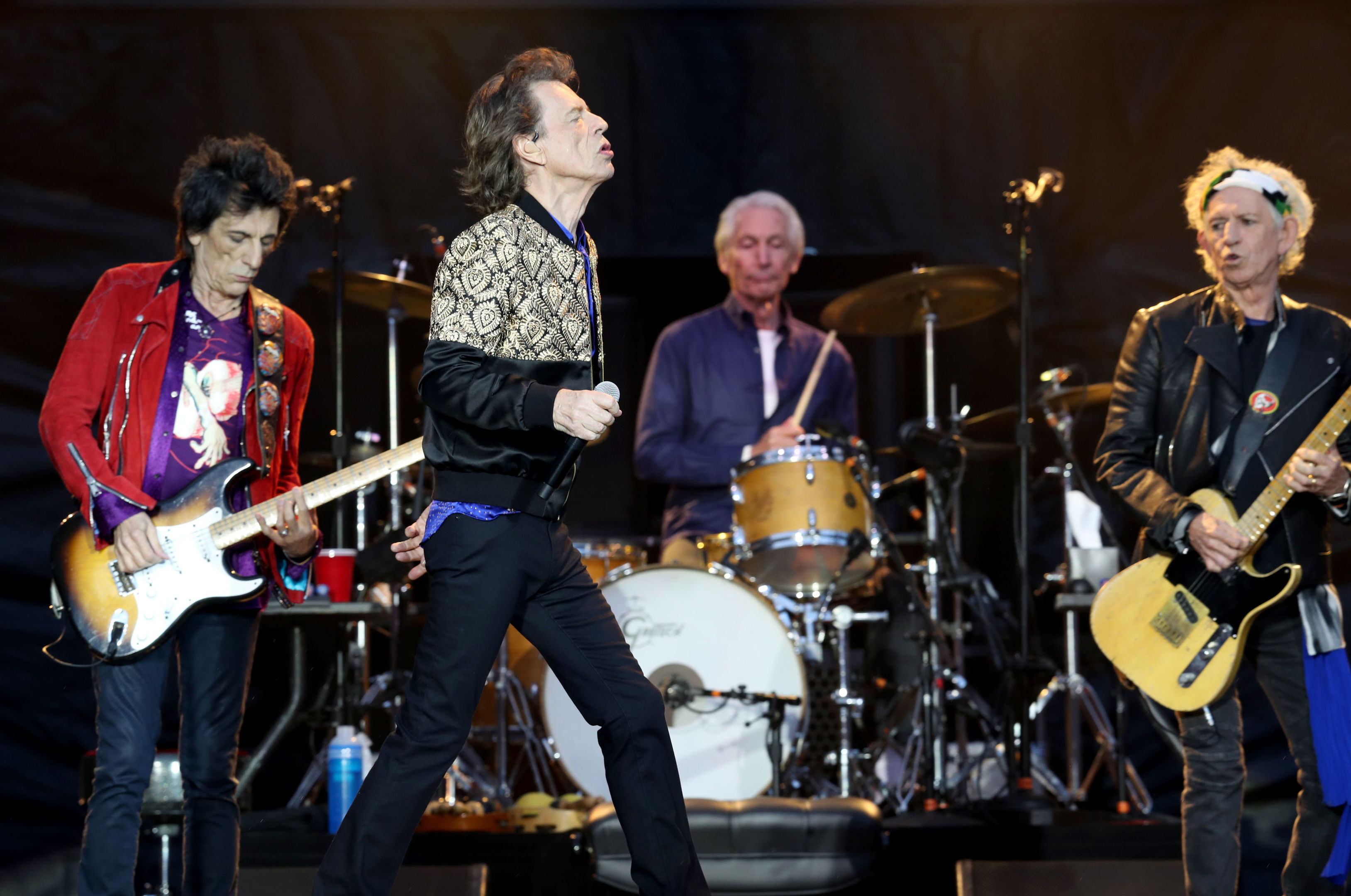 Ronnie Wood, Mick Jagger, Charlie Watts and Keith Richards of The Rolling Stones during their gig at the Murrayfield Stadium in Edinburgh