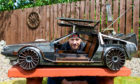 Barry Wood with his Delorean fire pit.