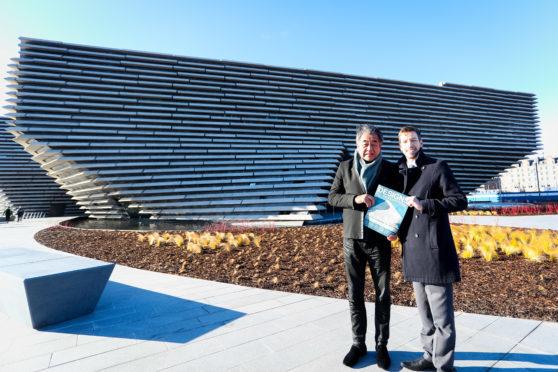 John Alexander with V&A Dundee architect Kengo Kuma