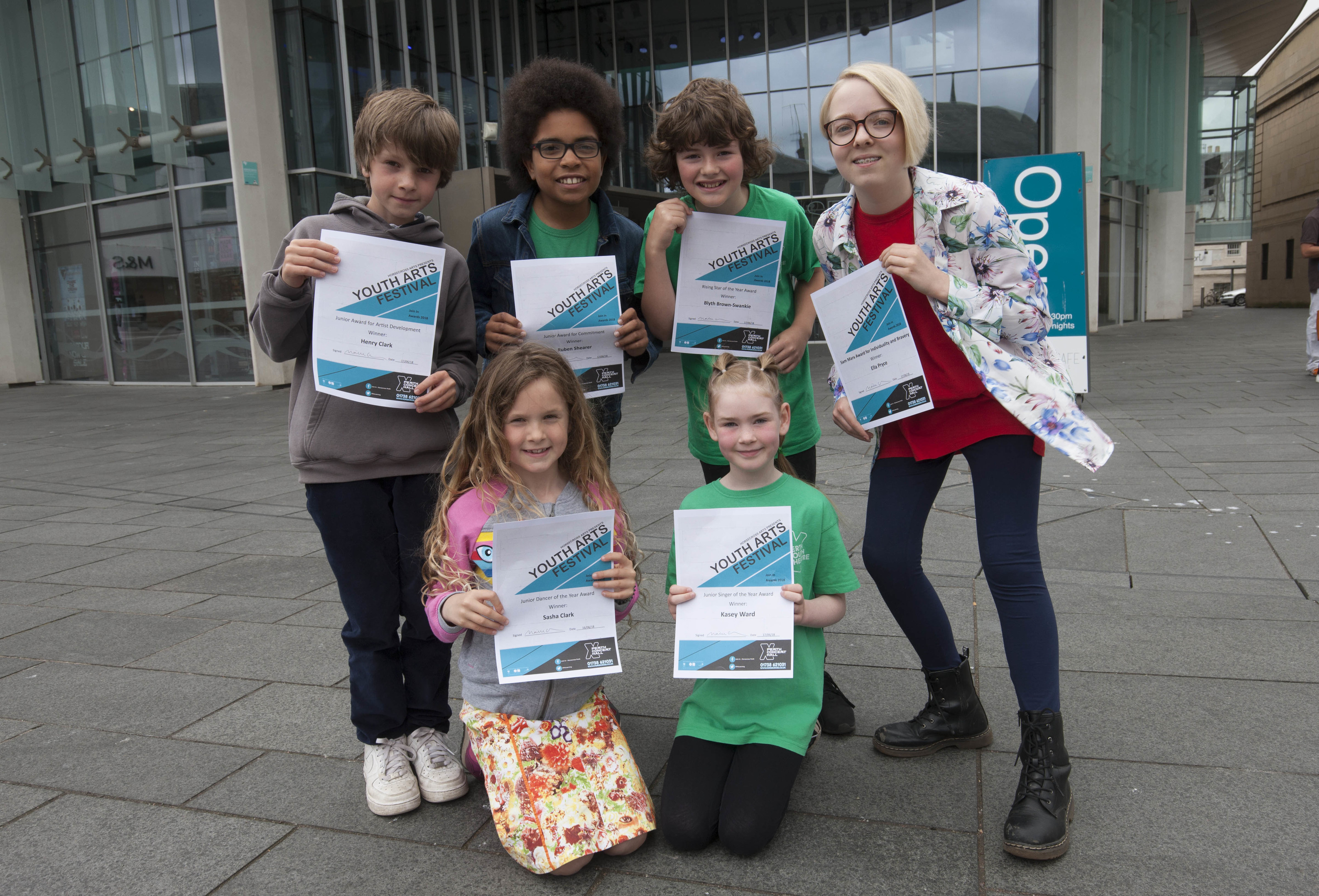 Award winners at Perth Concert Hall. Back from left: Sasha Clark, Ruben Shearer and Kasey Ward.  Front: Blyth Brown-Swankie and Ella Pryce.