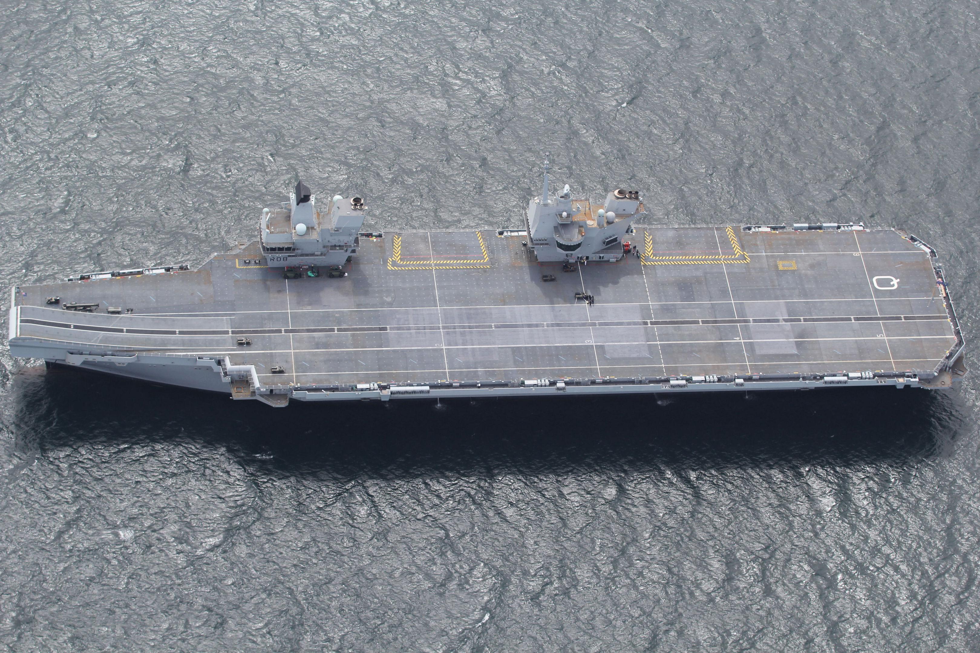 HMS Queen Elizabeth off the coast of Scotland.