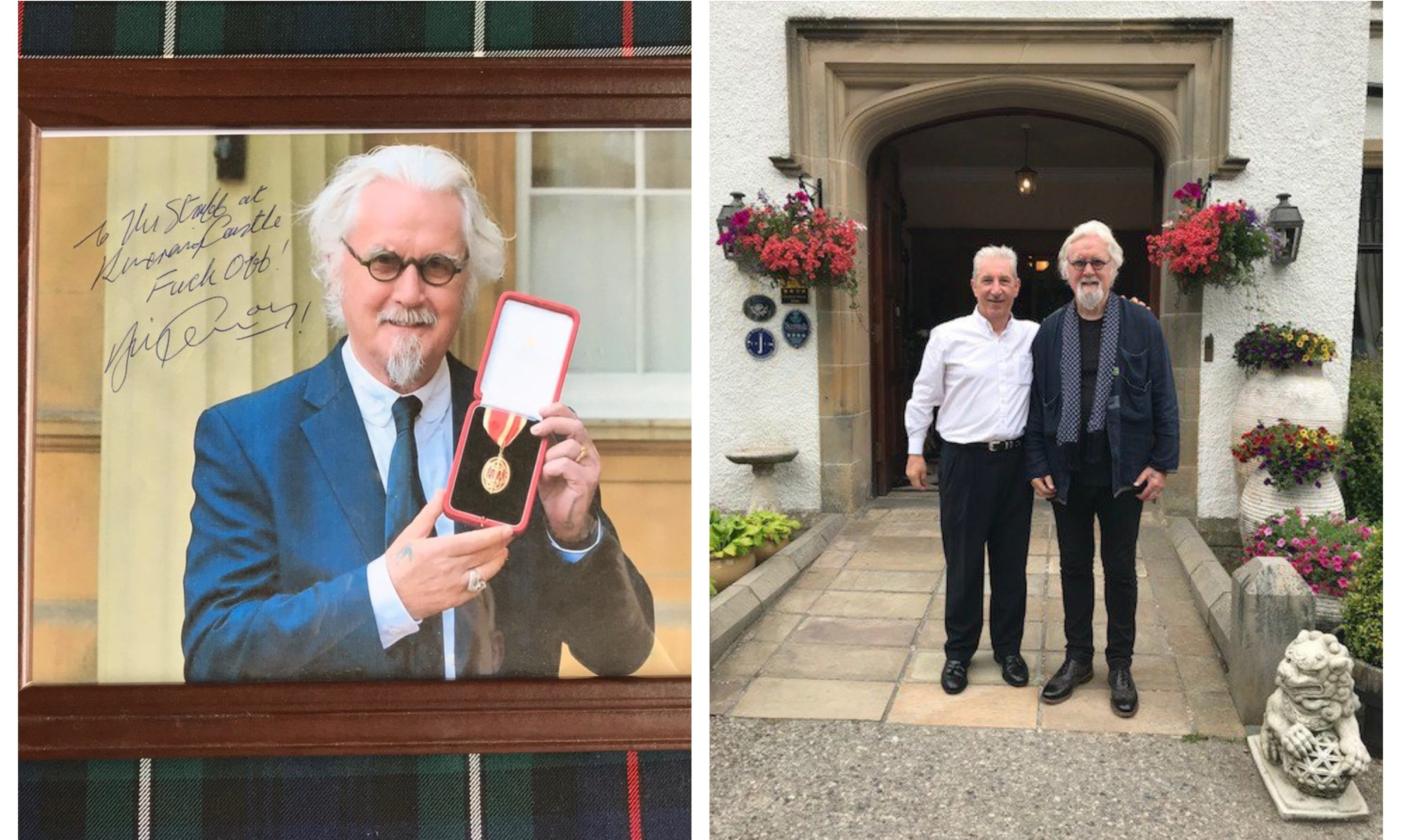 Sir Billy Connolly's signed photo/pictured with Kincraig Castle staff