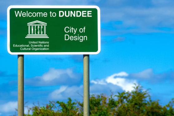 How a sign proclaiming Dundee's UNESCO City of Design status could look.