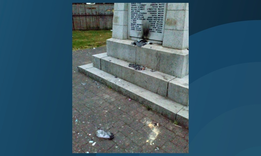 The damage caused at Cowdenbeath War Memorial.