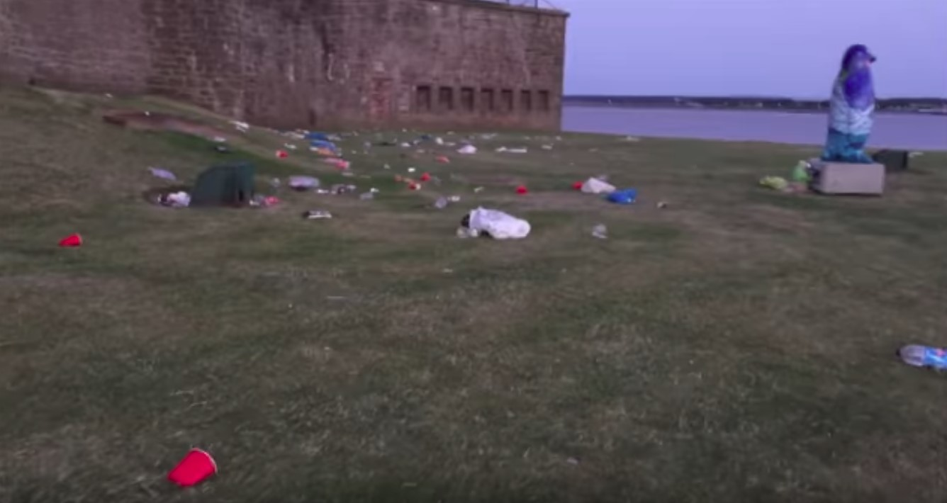 Rubbish strewn on the grass at Broughty Ferry Castle.
