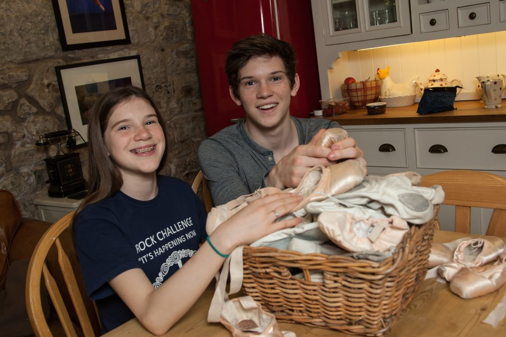 Harris Bell, 18, at home with his sister Cara, 13, who is also a ballet dancer