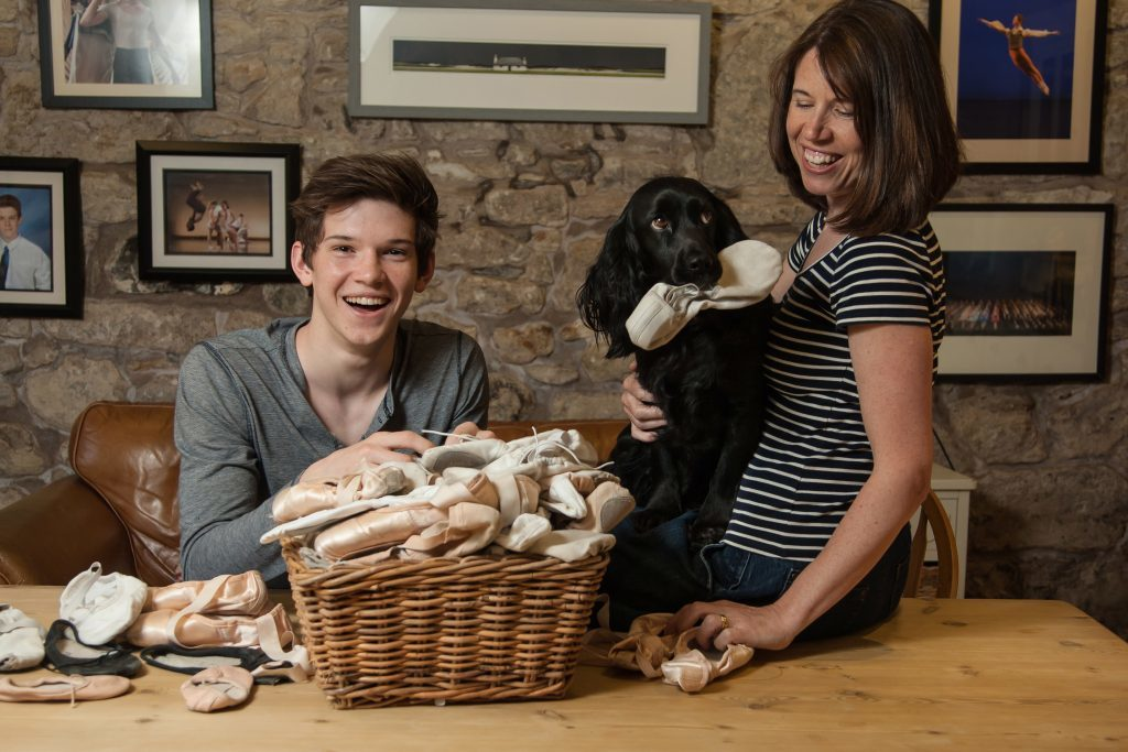 Pauline Bell with her son, Harris, 18, a ballet dancer studying at the Royal Ballet School, London. Also their dog, Izzy.