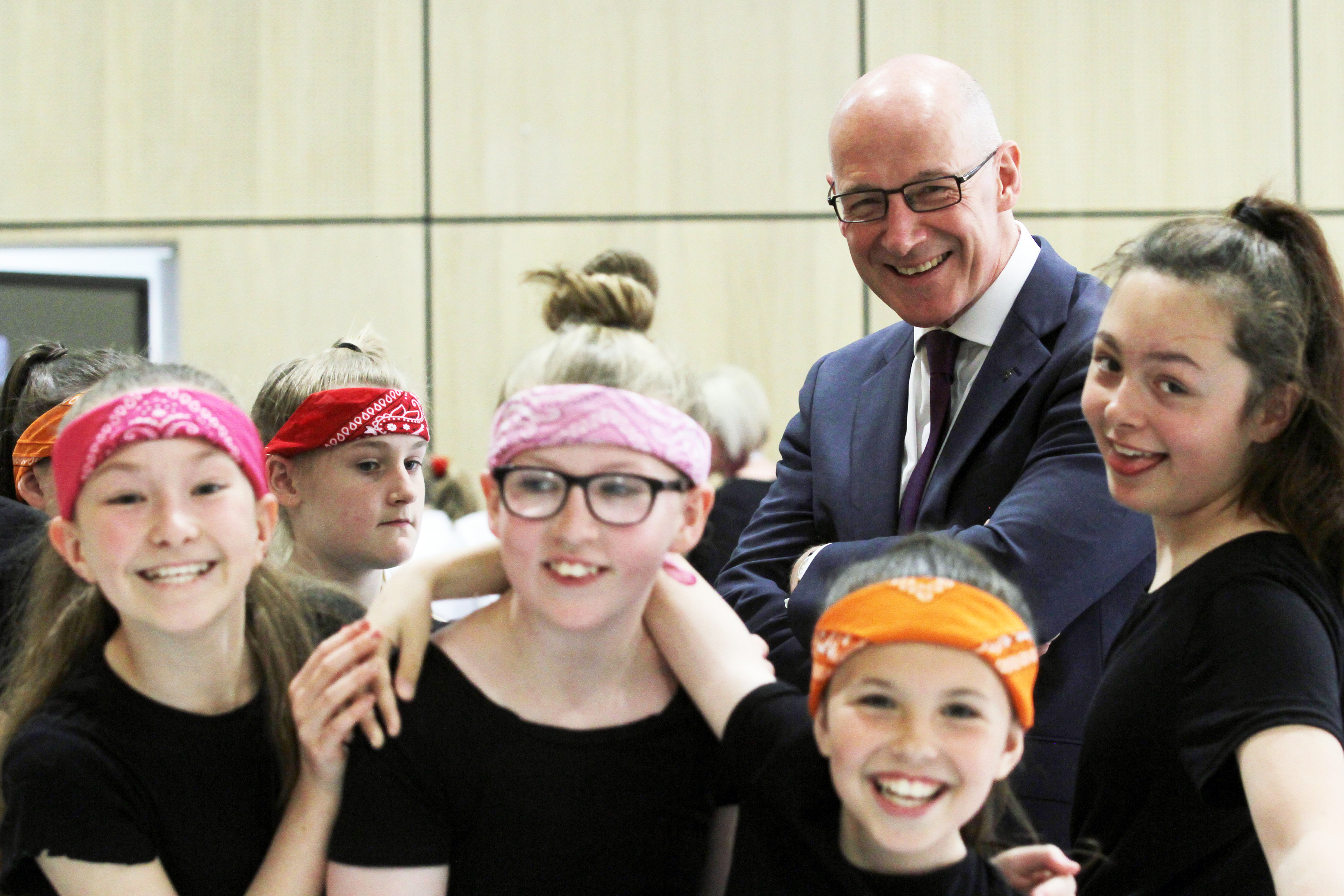 Deputy First Minister John Swinney with Tulloch Primary School pupils.