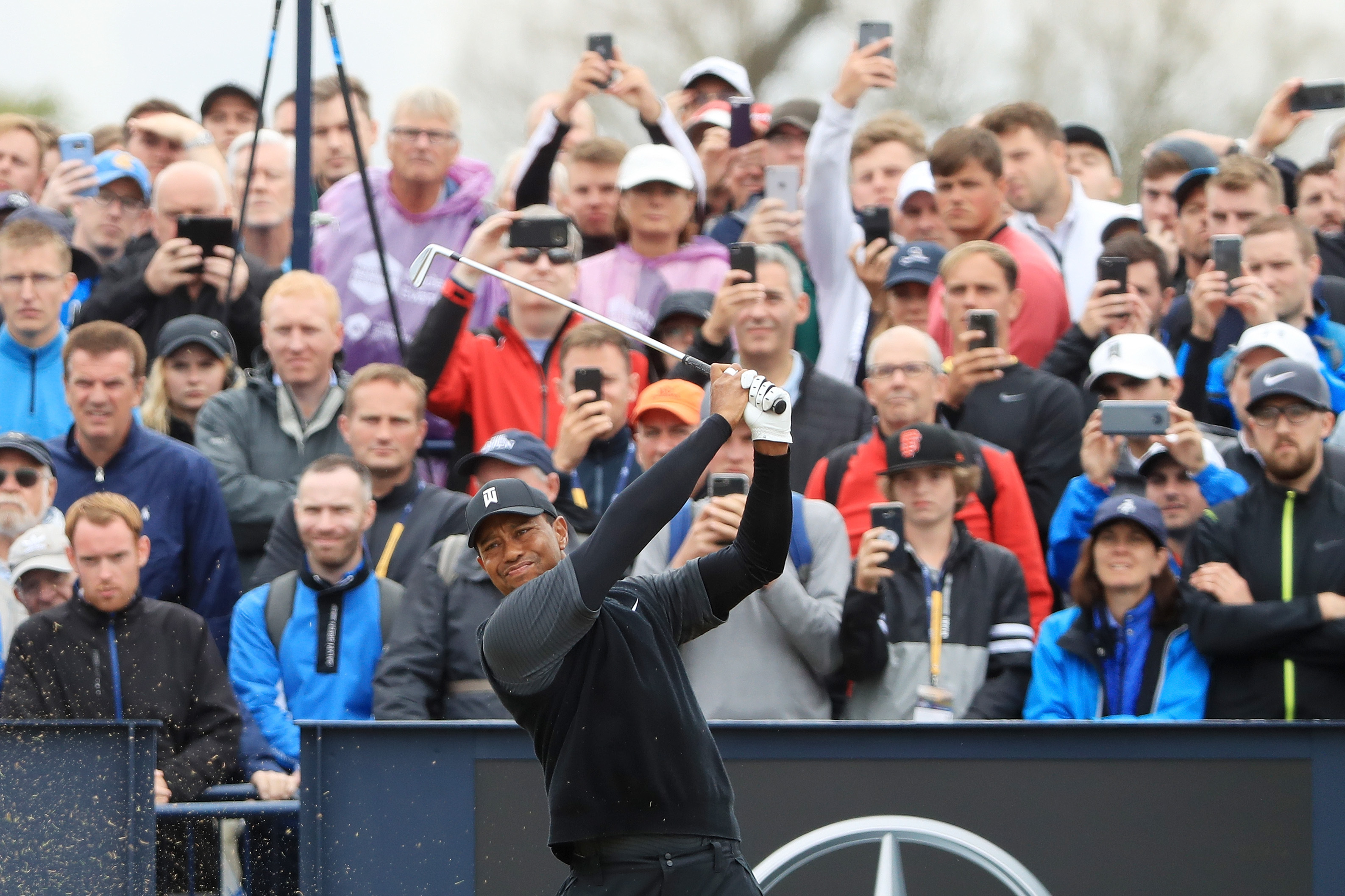 The galleries have stayed with Tiger Woods through two days of frustration.