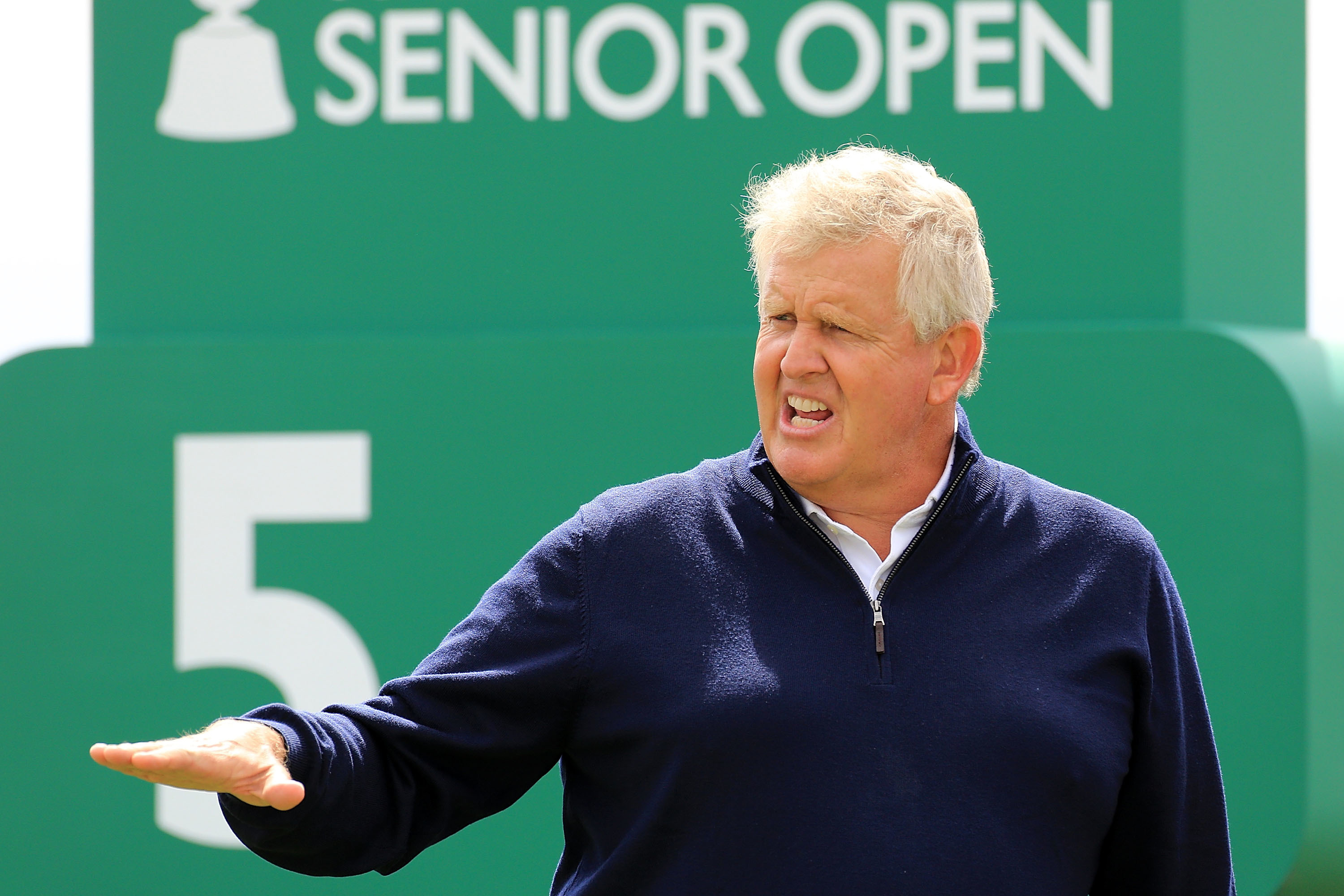 Colin Montgomerie was roughed up by the closing stretch of the Old Course in the first round of the Senior Open.