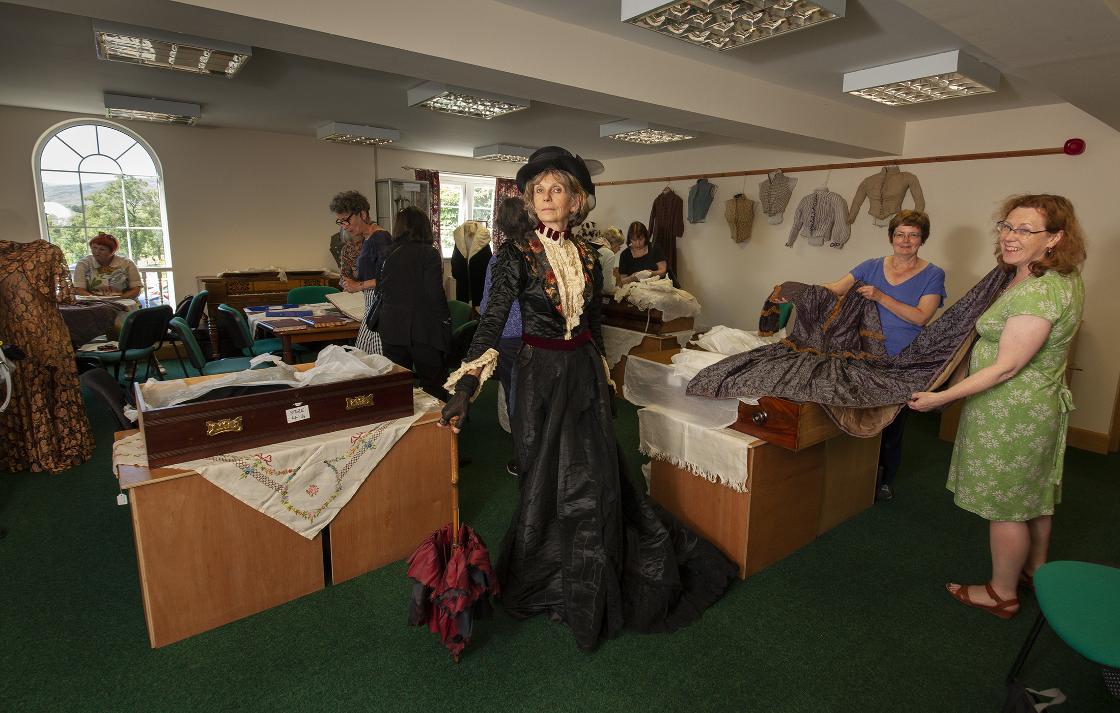 Museum curator Maria MacDonell(left) with members of the Costume Society of Scotland Gillian Ferguson and Mary-Claire MacFarlane