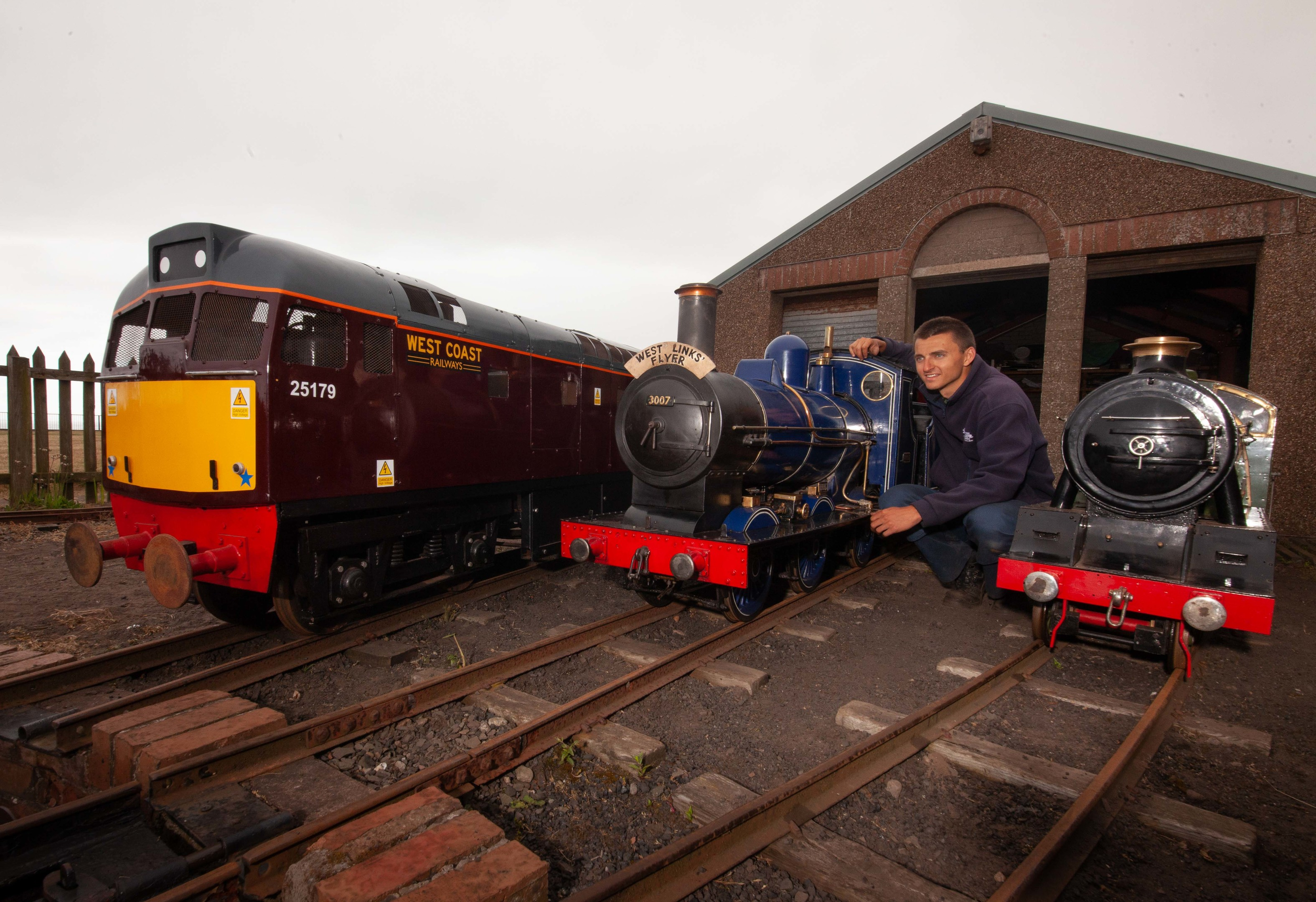 John Kerr with his railway.