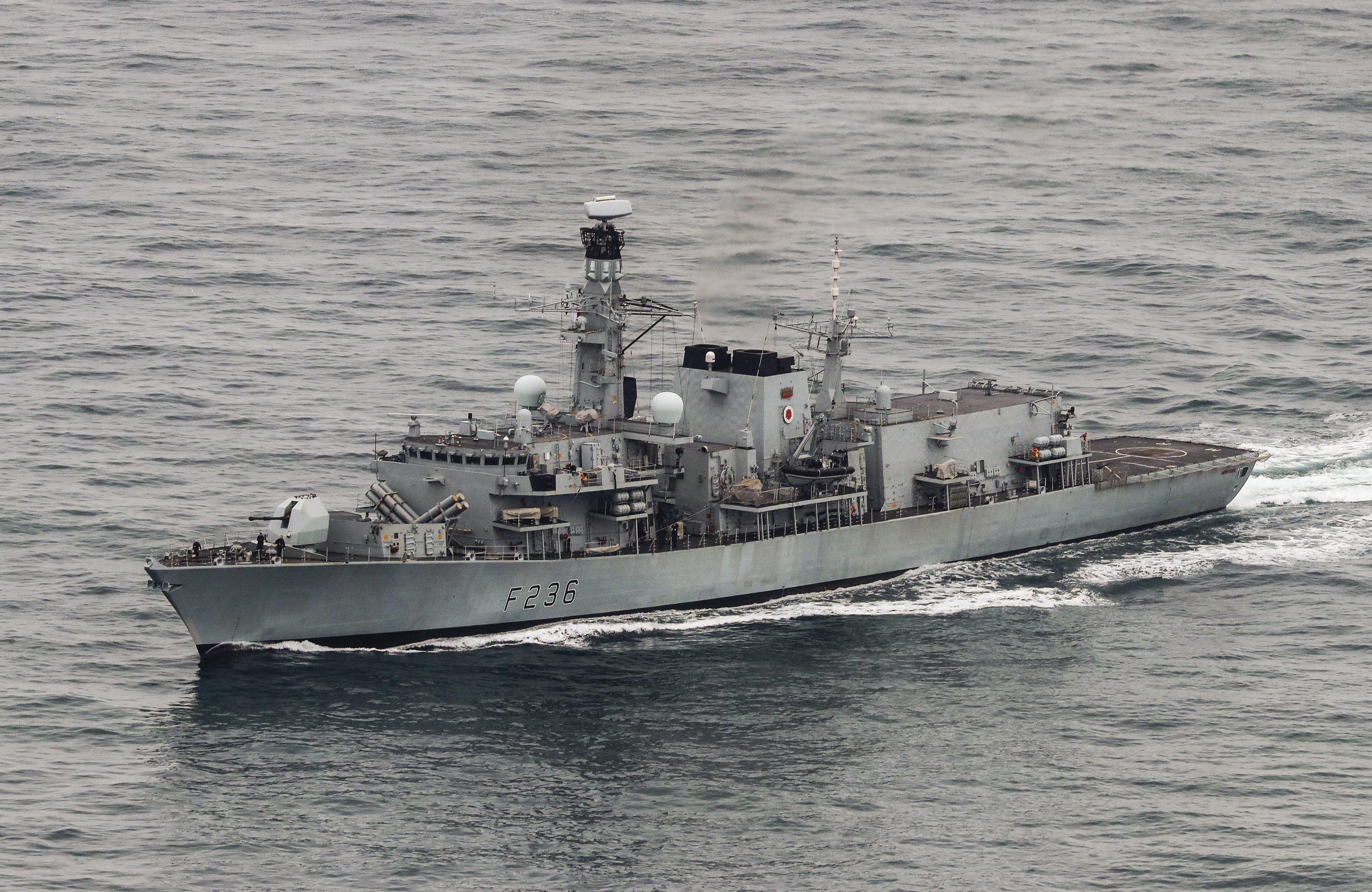 HMS Montrose at sea.