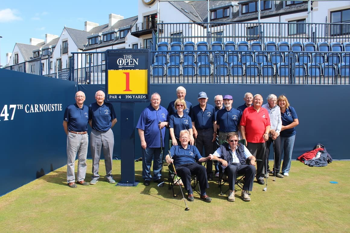 Golfing memories group members on the Open Championship first tee