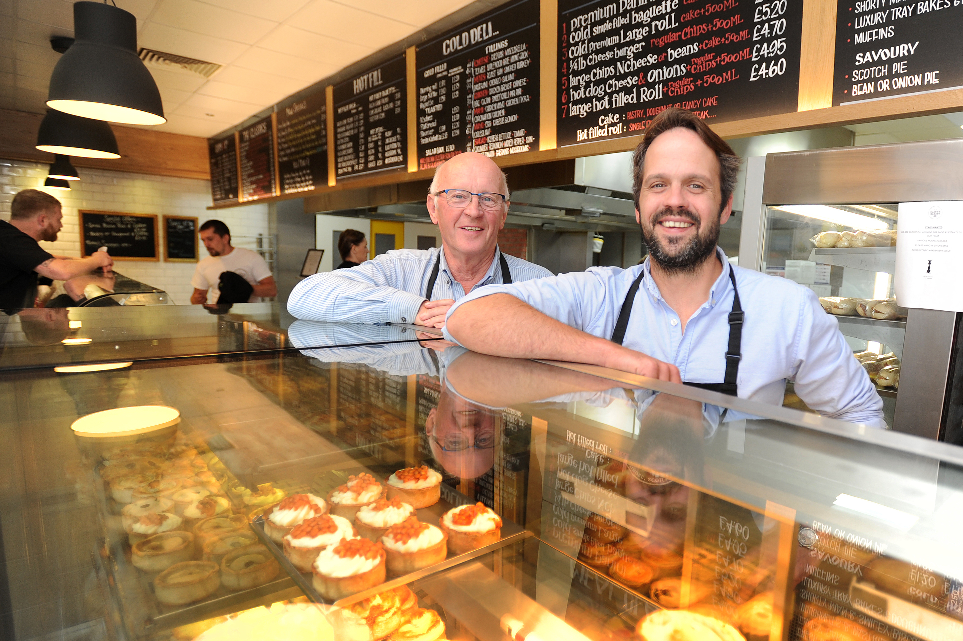 Father and team Alan and Jonathon Clark in the bakery shop in Annfield Street.