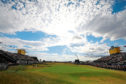 Courier News/Sport - Angus story - Open Golf Final.  CR0002675 Picture shows; a wide view of the 18th green at the final round of the Open Championship at Carnoustie today. Sunday 22nd July 2018.
