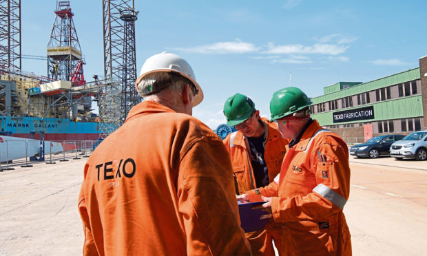 Workers at the Texo Fabrication site at the Port of Dundee.