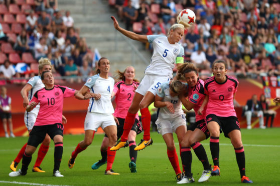 Steph Houghton of England clears the ball from danger during the UEFA Women's Euro 2017 Group D match between England and Scotland at Stadion Galgenwaard on July 19, 2017 in Utrecht.