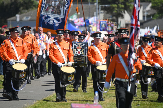 Members of the Orange Order attend the County Grand Lodge of East of Scotland district meeting on June 30, 2018 in Cowdenbeath, Scotland.