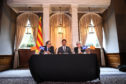 President of the Generalitat of Catalonia Quim Torra, lawyer Aamer Anwar and former Catalan Minister Professor Clara Ponsati attend a press conference ahead of a meeting with Scotland's First Minister Nicola Sturgeon on July 11.