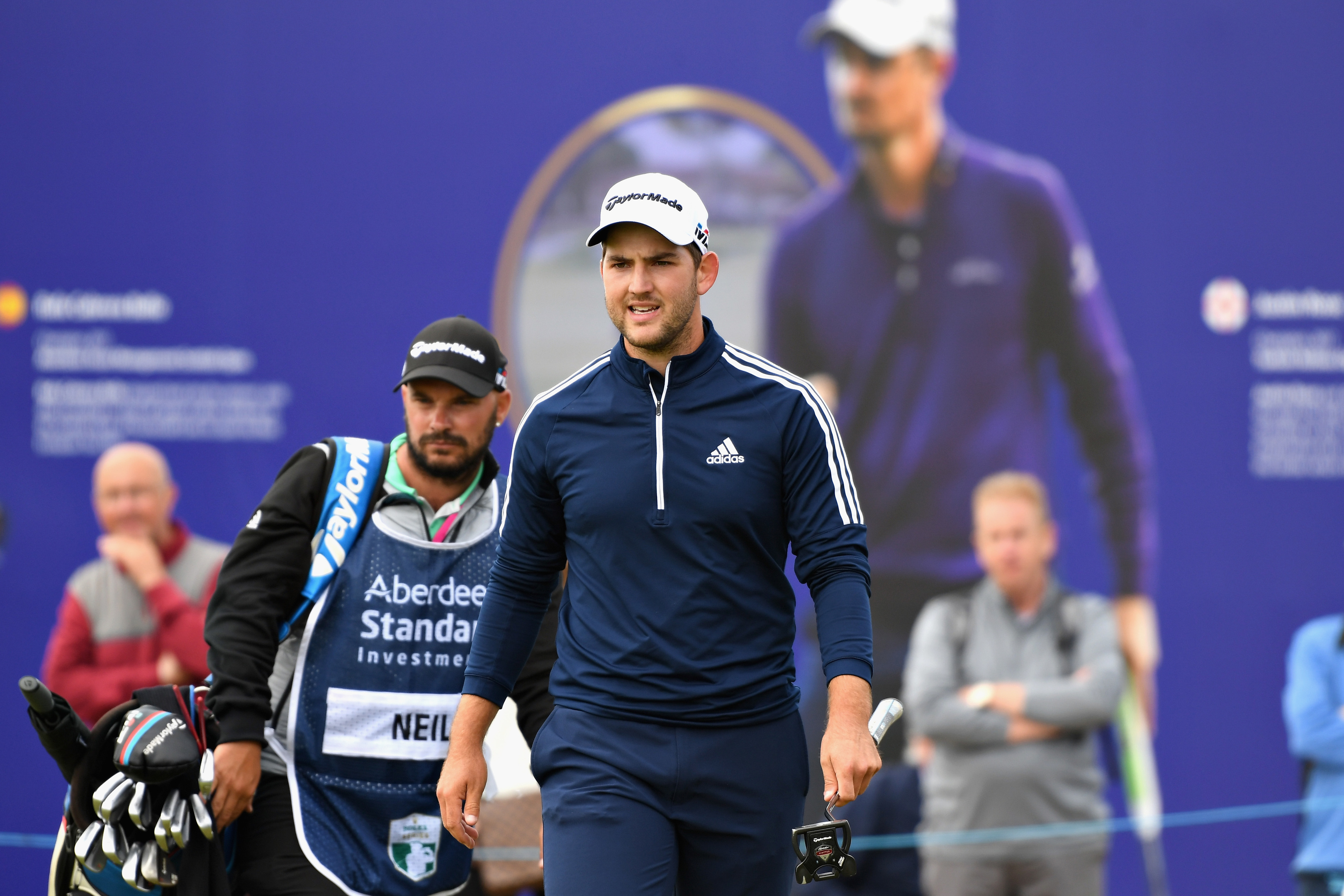 Bradley Neil reacts to a putt on hole eighteen during day one of the Aberdeen Standard Investments Scottish Open.