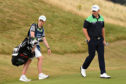 Stephen Gallacher and his caddie, son Jack during his final round 66 at Gullane.