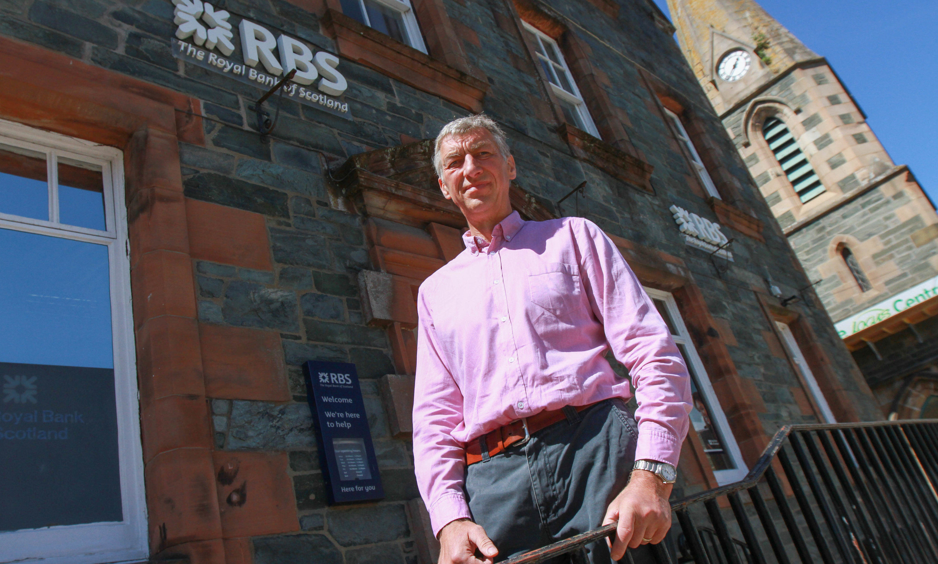 Councillor Mike Williamson outside the closed RBS branch in Aberfeldy