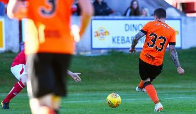 Fraser Aird opens the scoring for United.
