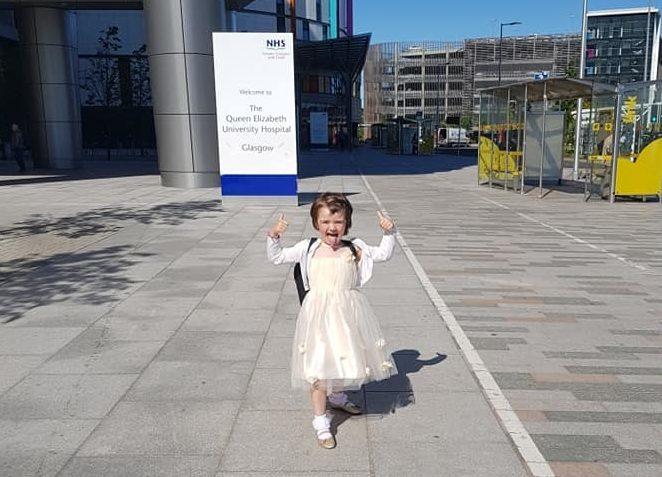 Ava Stark outside the Queen Elizabeth University Hospital - supplied to SVesty from Marie Stark
