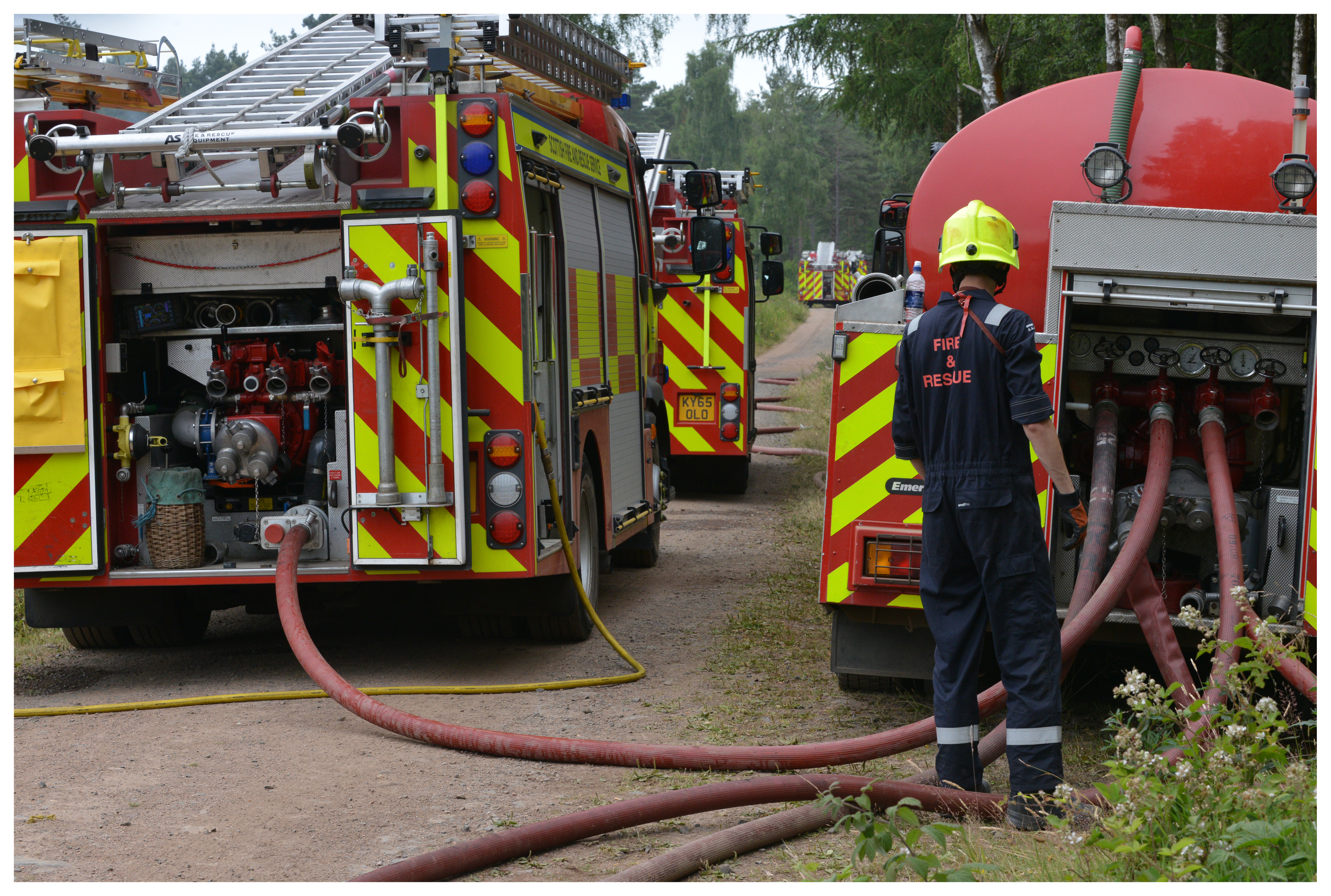 Firefighters tackle the blaze at the Red Squirrel Trail at Devilla Forest near Kincardine on Tuesday.