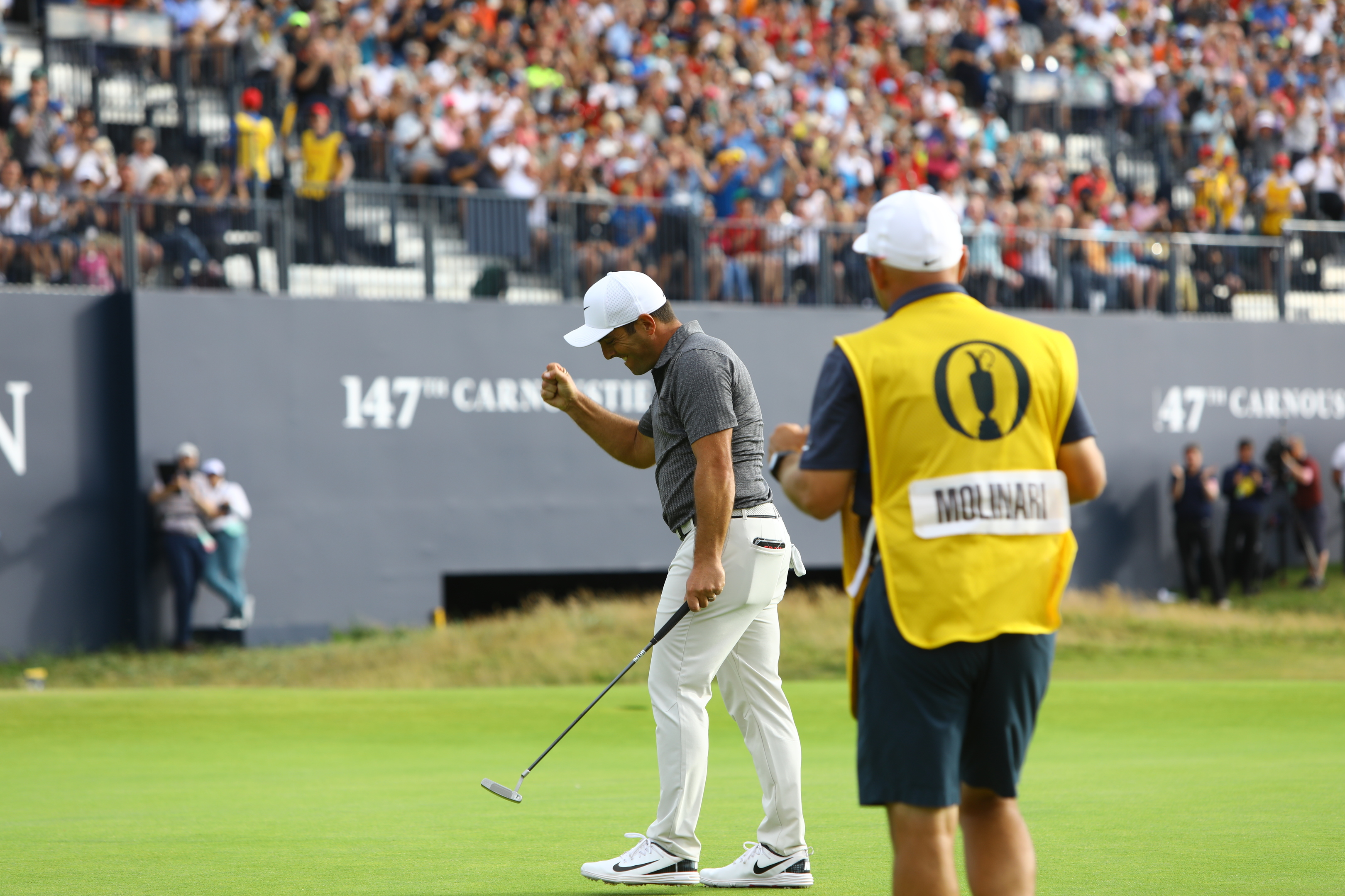 Francesco Molinari sinks his birdie putt on the 18th, to win the Open Championship at Carnoustie.
