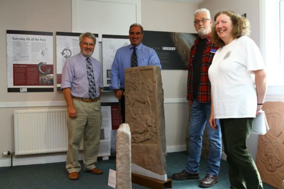 From left, Norman Atkinson OBE, Angus councillor Gavin Nicoll, Paul Duncan of the hall committee and Isabelle Davies, chairman of Aberlemno Village Hall Committee in the new Pictish Room.