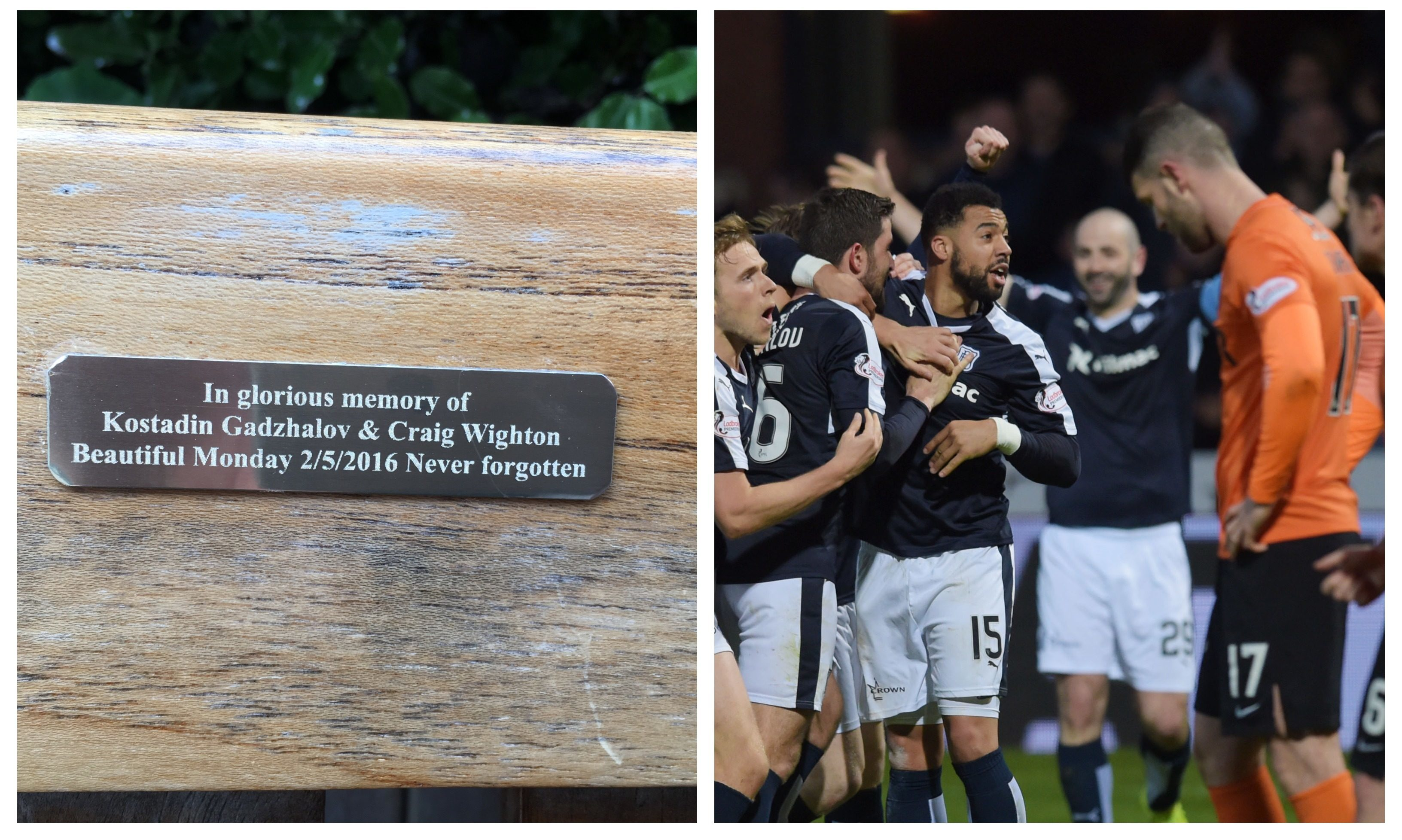 The plaque and a photo from the 'Doon Derby'.