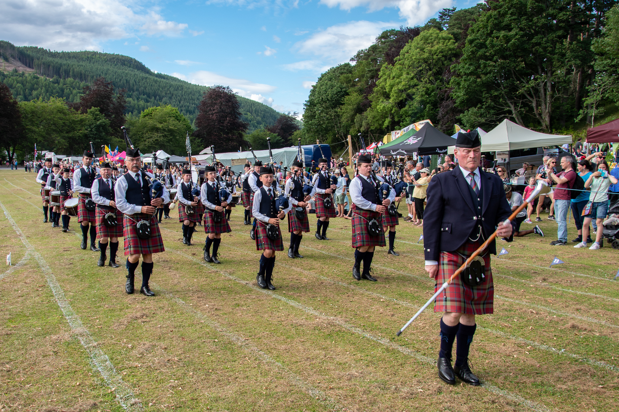 Pipers at the Kenmore Highland Games