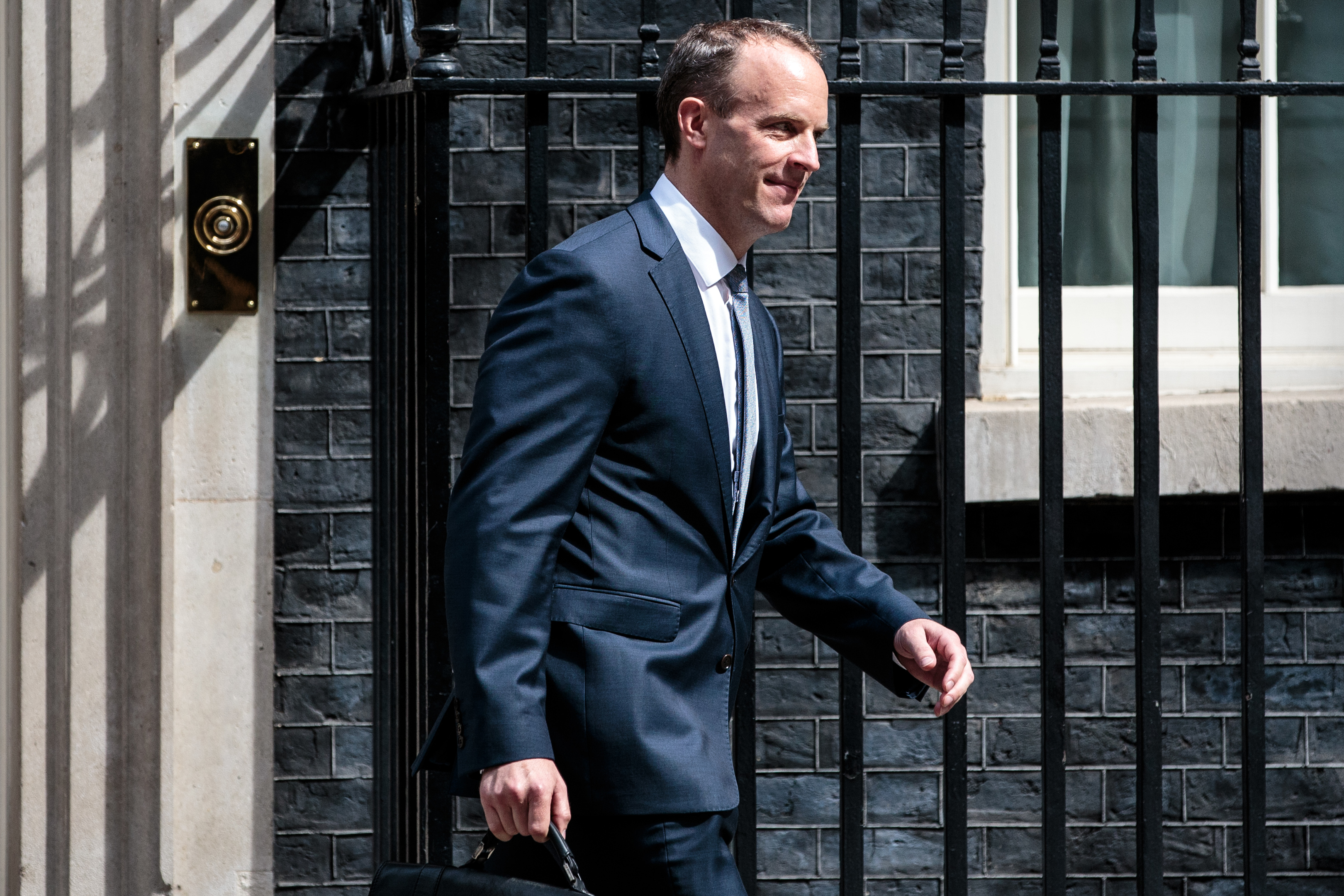 LONDON, ENGLAND - JULY 09: Dominic Raab leaves Number 10 Downing Street after being appointed Brexit Secretary by British Prime Minster Theresa May on July 9, 2018 in London, England. Last night David Davis quit as Brexit Secretary over his opposition to Mrs May's plan for the UK's future relations with the EU. (Photo by Jack Taylor/Getty Images)