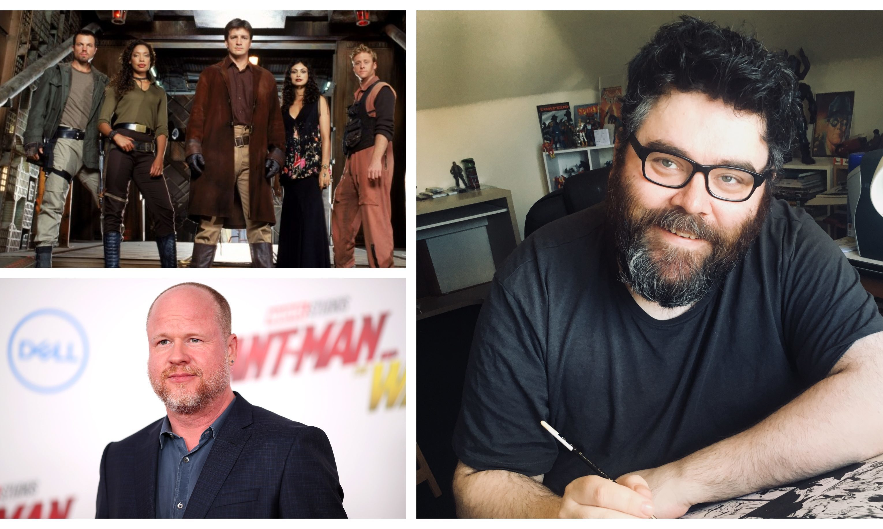 Dan McDaid (right), the cast of Firefly (top left) and the show's creator Joss Whedon (bottom left).
