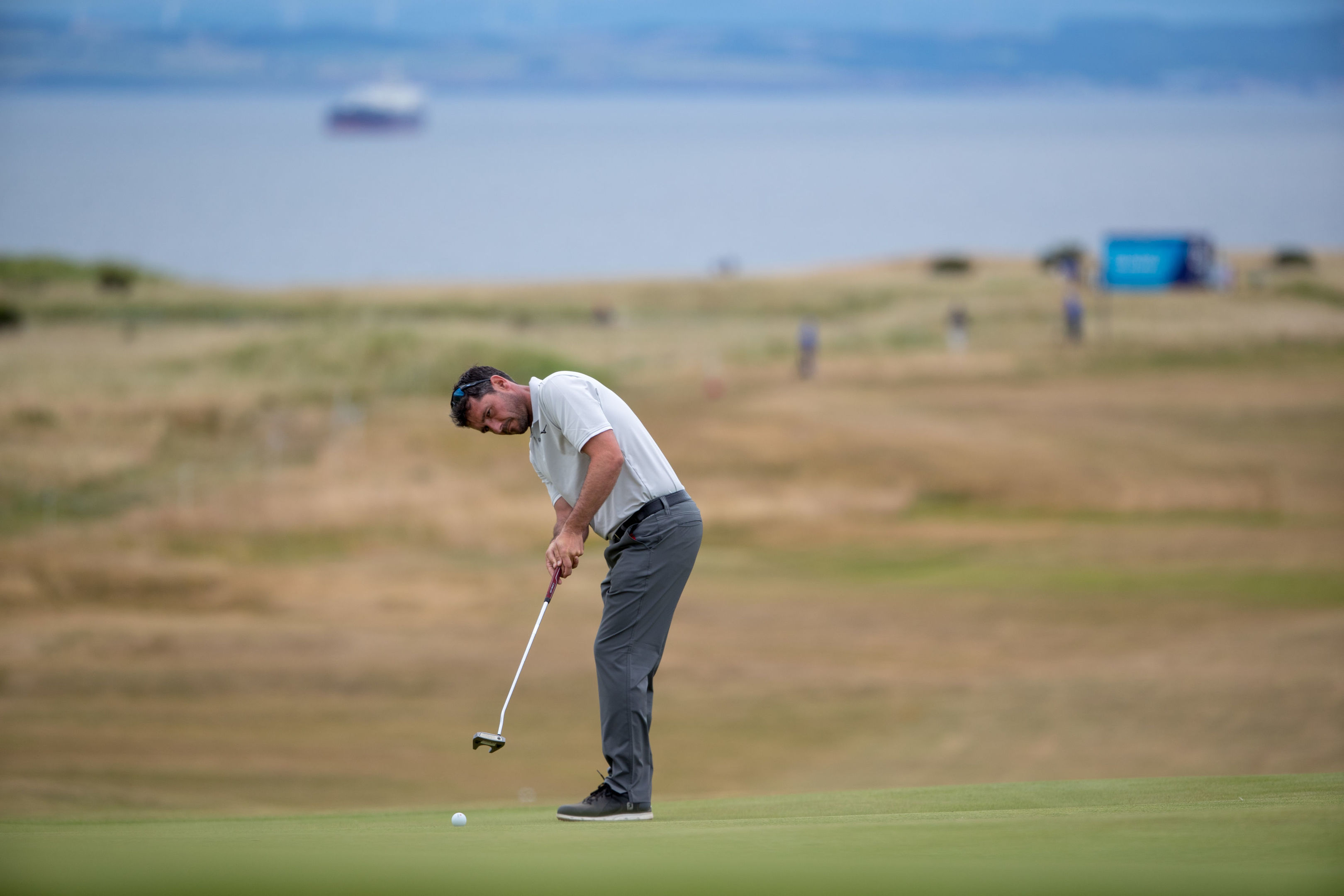 Peter Whiteford putts for birdie at the 16th during day one of the Aberdeen Asset Management Scottish Open at Gullane.