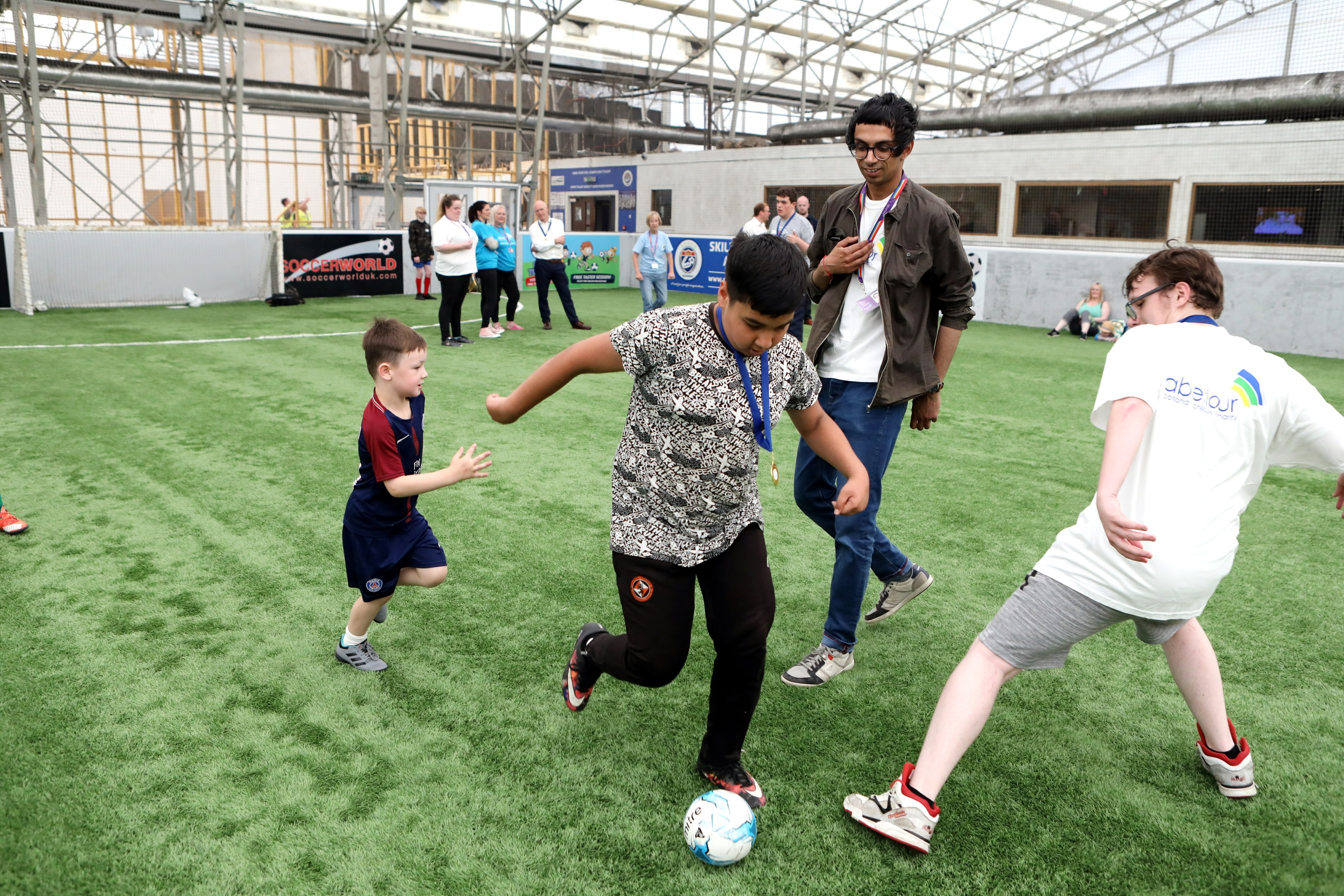 The visually-impaired football match took place at SoccerWorld Dundee.