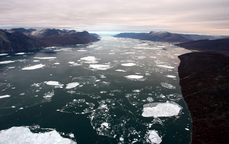 A melting glacier on Greenland.