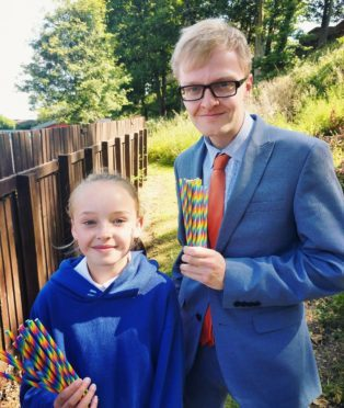 Councillor Wilson with  Stacey Hogg from Bervie Primary School.