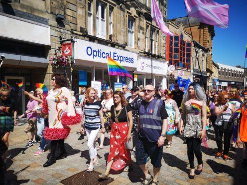 Marchers enjoy the sunshine along Kirkcaldy High Street