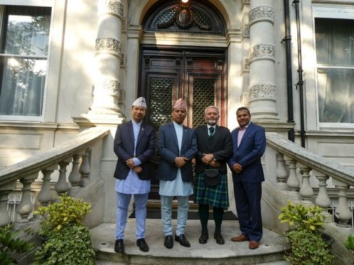 James Lamb (second right) with (from left) Aran Sharad the charge d'affaires, ambassador Dr Subedi and Yadav Bhandari, manager of Everest Inns Worldwide.