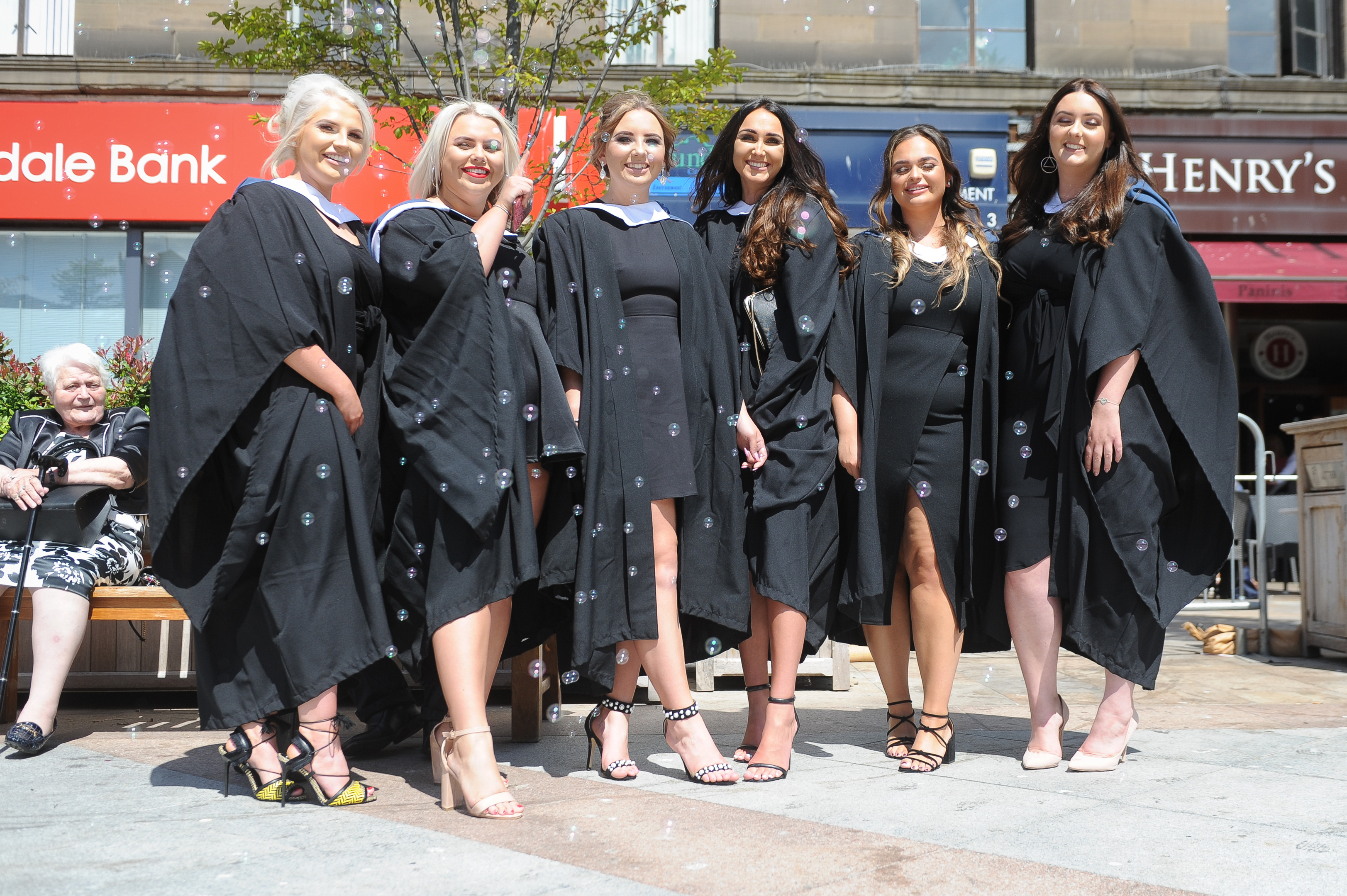 Molly Crombie, Amy Downie, Abigail Pass, Gemma Douglas, Brogan Laing and Abbie Rutherford celebrate graduating from Abertay University in 2018