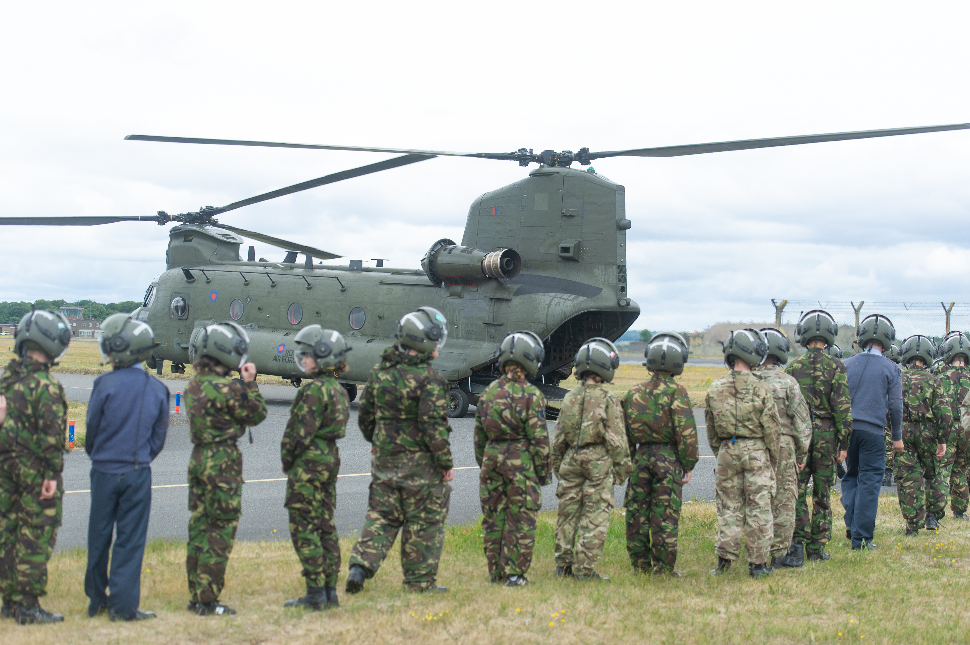 Cadets board  the Chinook ready for departure,