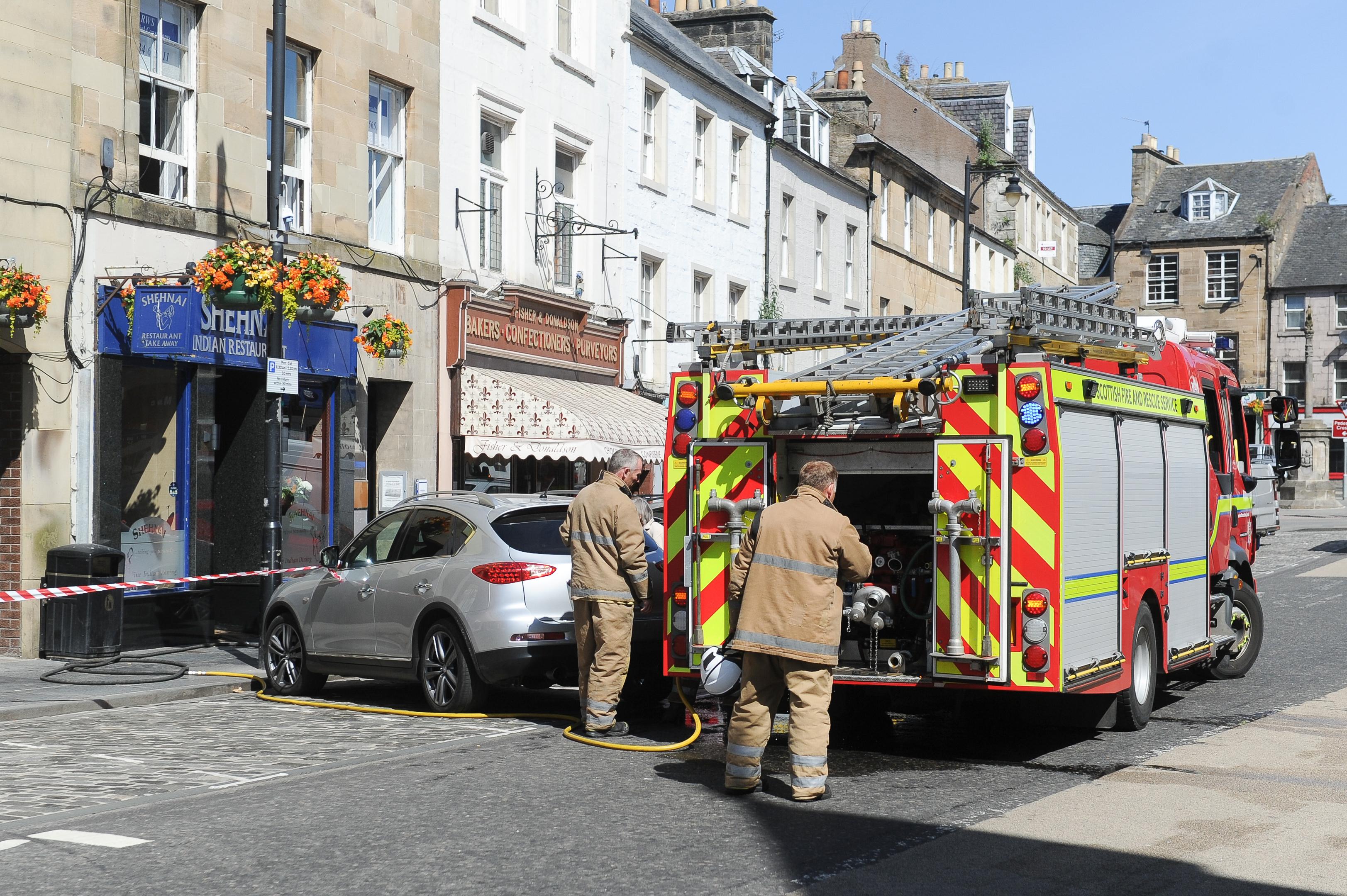 Firefighters outside the restaurant in Cupar's Crossgate.