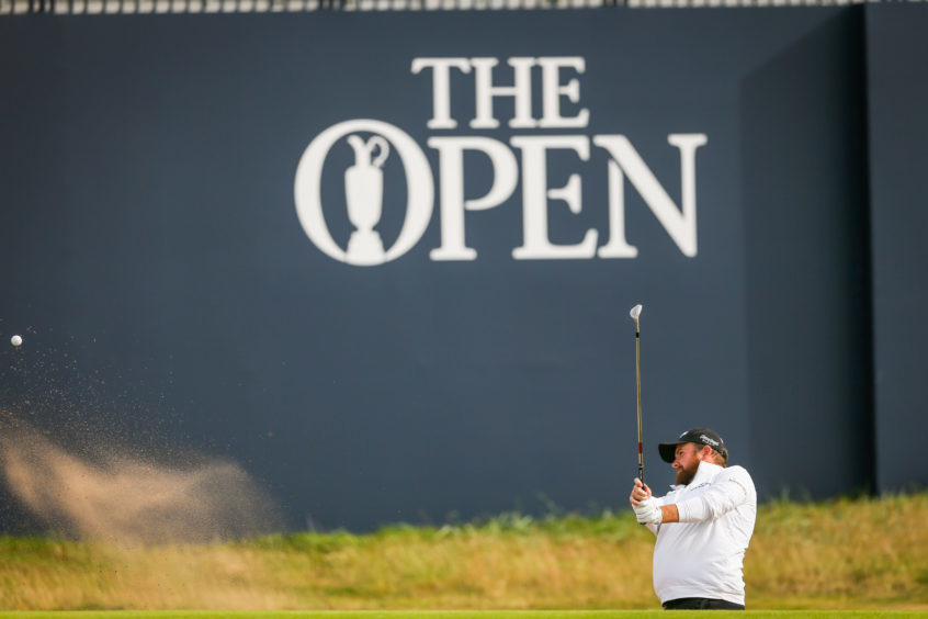 Shane Lowry practising bunker shots during day two at Carnoustie. Picture: Kris Miller.